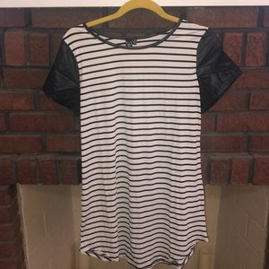 Striped Tshirt dress w/ pleather neckline/sleeves
